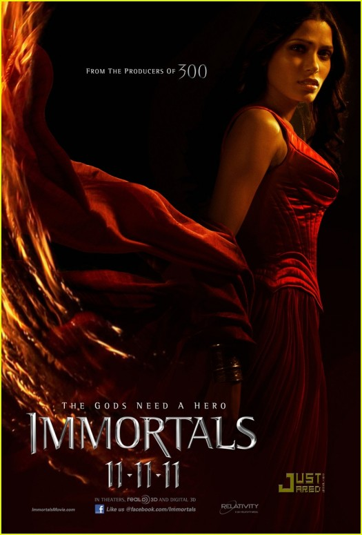 freida pinto  shirtless and hot in the immortals rare one sheet movie poster promo christopher nolan rare promo hot sexy photo shoot rare