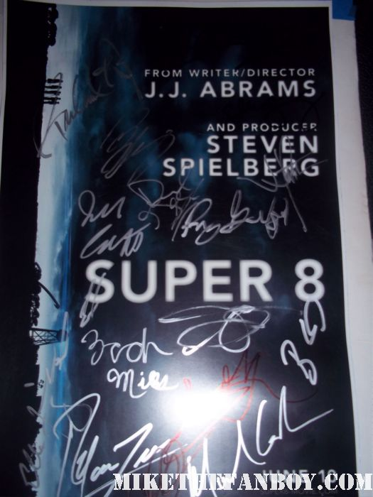 super 8 cast signed autograph movie poster promo steven spielberg jj abrams hot promo rare cast signed autograph movie poster one sheet