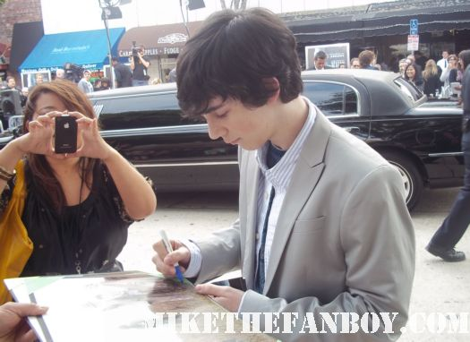 Zach Mills signing autographs at the super 8 world premiere in westwood california rare photo shoot promo signature cast rare