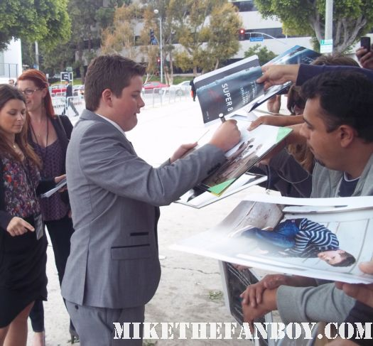 Riley Griffiths signing autographs at the super 8 world premiere in westwood california rare photo shoot promo signature cast rare