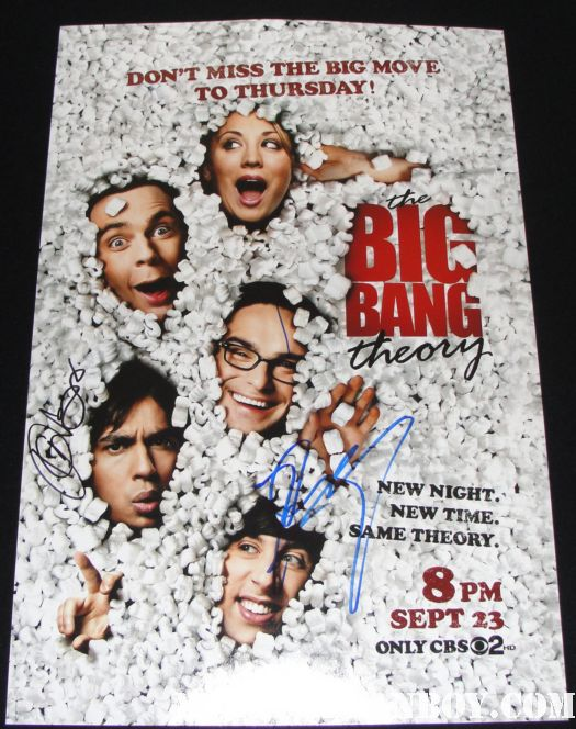 the big bang theory season 4 rare promo poster signed autograph kunal nayer johnny galeckie kaley cuco jim parsons simon helberg