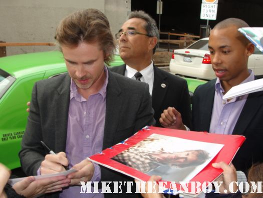 True Blood star Sam Trammell stops to sign autographs for fans before the geek roundtable at the los angeles times emmy screening series signed autograph true blood sam merlotte hot sexy promo poster rare season 4 true blood poster