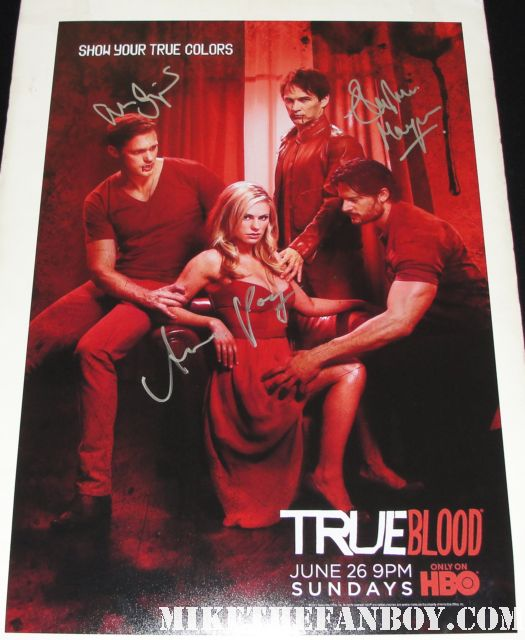 true blood season 4 rare promo poster signed true colors autograph anna paquin alexander skarsgard stephen moyer rare red sexy hot eric northman bill compton sookie stackhouse