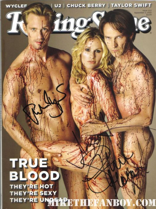 true blood sexy naked magazine rolling stone cover signed autograph anna paquin stephen moyer alexander skarsgard stephen moyer shirtless eric northman
