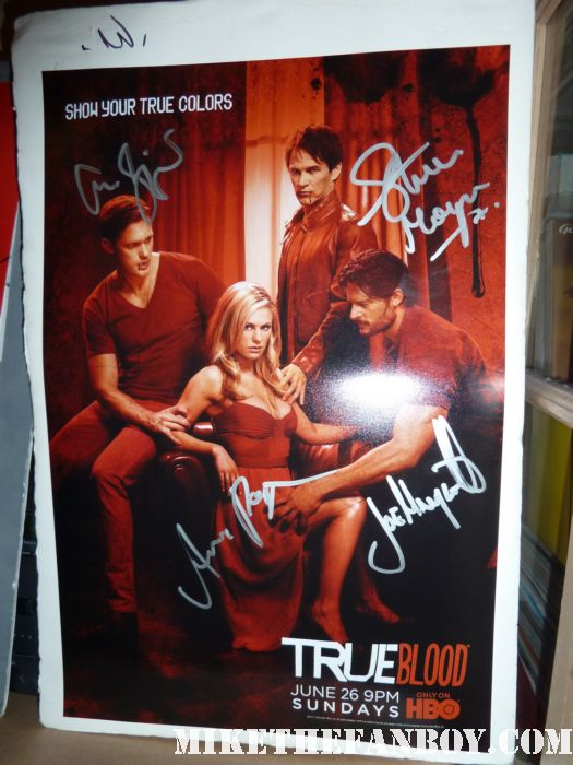 true blood season 4 true colors promo poster signed autograph anna paquin alexander skarsgard stephen moyer joe alcide