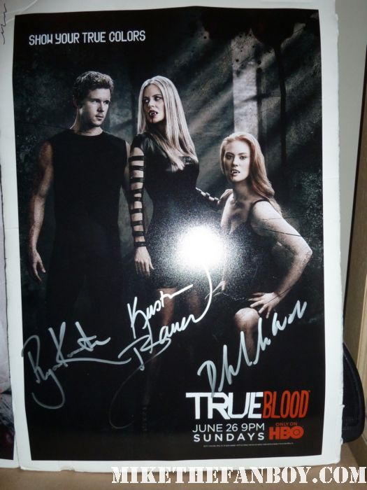 true blood season 4 true colors promo poster signed autograph deborah ann woll ryan kwanten kristin bauer