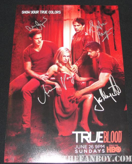 true blood season 4 rare red true colors promo poster signed autograph joe manganiello anna paquin alexander skarsgard stephen moyer joe manganiello true blood signed autograph sexy hot extra grove rare promo damn fine fan friendly photo shoot sexy sex workout abs photoshoot gq magazine true blood season 4 hot pecs muscle