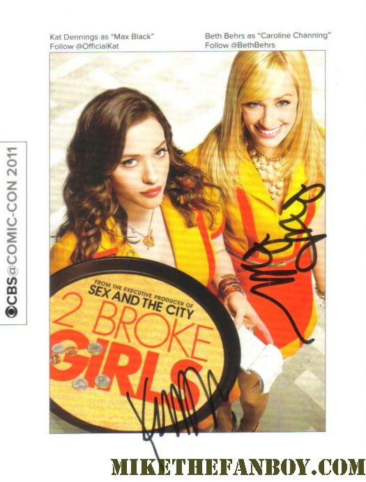 2 broke girls signed autograph poster postcard from kat dennings beth behrs two broke girls autograph signing rare hot sexy promo san diego comic con 2011 sdcc 2011 signed autograph