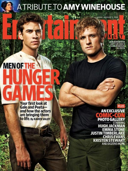 entertainment weekly hunger games cover sexy boys liam hemsworth josh hutcherson gale peeta rare sexy hot promo