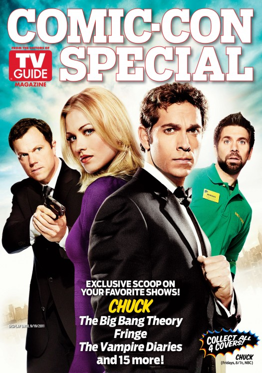 chuck comic con special edition magazine cover tv guide rare hot zachary levi adam baldwin