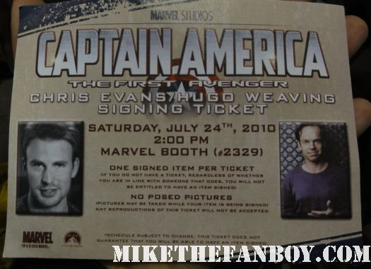 san diego comic con 2011 sdcc 2011  sdcc 2010 san diego comic con 2010 Captain america autograph signing ticket chris evans hugo weaving