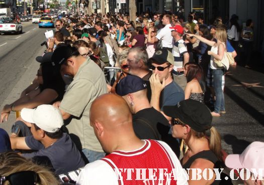 The crowd waiting at the world movie premiere at Horrible Bosses in hollywood  horrible bosses red carpet waiting fans barricade hot sweaty