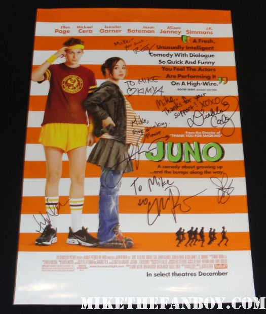 rare juno hand signed mini movie poster ellen page jason bateman jennifer garner hot sexy diablo cody