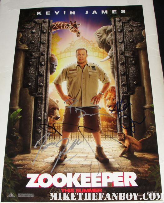 zookeeper hand signed promo mini movie poster rare rosario dawson donnie wahlberg new kids on the block promo