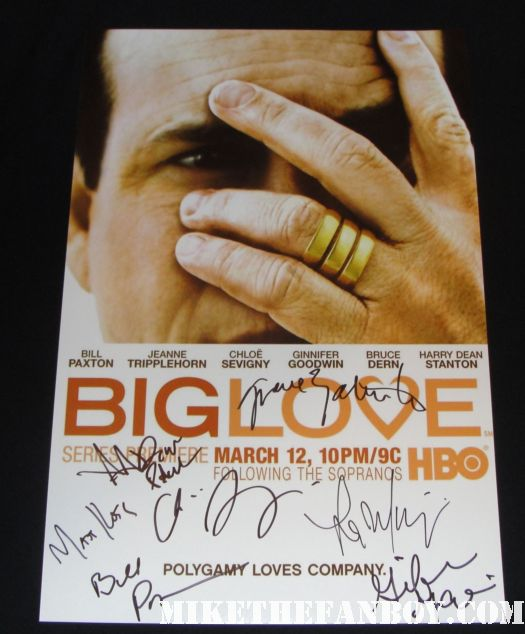 big love cast signed autograph promo mini poster bill paxton ginnifer goodwin aaron paul rare hot sexy