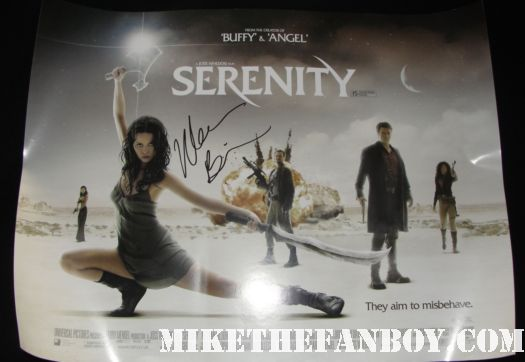 morena baccarin signed autograph serenity firefly uk quad mini poster firefly star morena baccarin signing autographs for mike the fanboy at the showtime party at comic con 2011 Mike The Fanboy and Dexter star CS Lee mike the fanboy and the novel strumpet at the showtime comic con 2011 party San diego comic con 2011 sdcc 2011 the dexter showtime party rare michael c hall morena baccarin promo rare