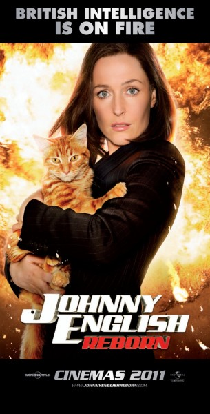 Johnny-English 2 rare individual promo one sheet movie Poster Gillian-Anderson x files rare promo pussy