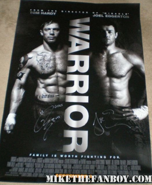 san diego comic con 2011 sdcc 2011 signed autograph shirtless naked tom hardy and joel edgerton the cast of the warrior at the lionsgate booth
