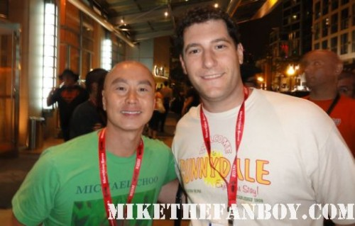 Mike The Fanboy and Dexter star CS Lee mike the fanboy and the novel strumpet at the showtime comic con 2011 party San diego comic con 2011 sdcc 2011 the dexter showtime party rare michael c hall morena baccarin promo rare