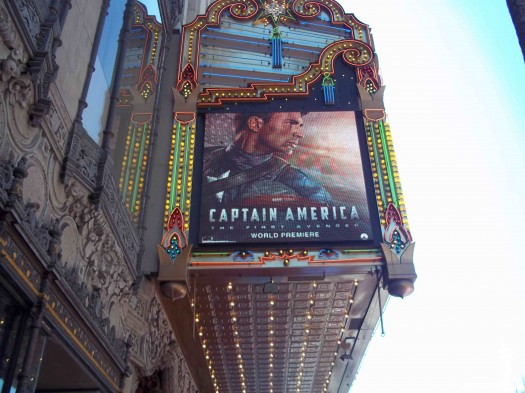 The world movie premiere of Captain America the First Avenger at the el capitan theatre in hollywood  marquee promo hot chris evans rare