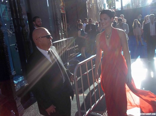 The world movie premiere of Captain America the First Avenger at the el capitan theatre in hollywood jaimie alexander sif from thor signing autographs for fans