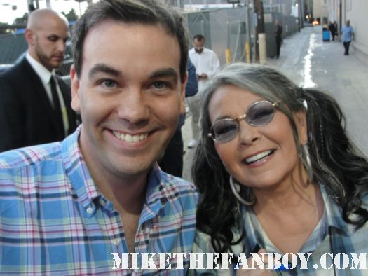 roseanne barr posing for a fan photo with mike the fanboy reader scott in hollywood rare promo roseanne's nuts