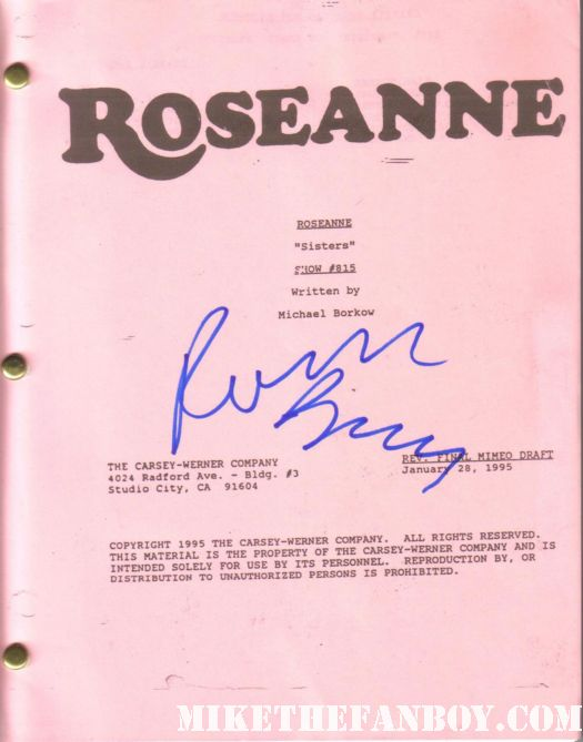 Roseanne barr signed autograph rare roseanne season 5 original script roseanne arnold rare promo roseanne's nuts
