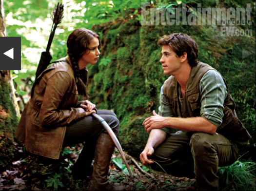 hunger games press still with jennifer lawrence as katniss and liam hemsworth as gale rare