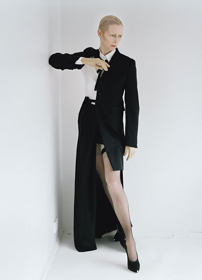 Tilda Swinton is Stunning on the August 2011 cover and photo shoot for W Magazine hot sexy rare promo hot sexy suit tie spy thriller rare promo i am love michael clayton
