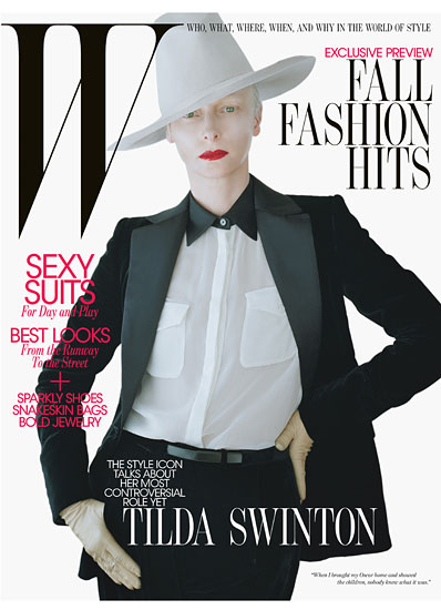 Tilda Swinton is Stunning on the August 2011 cover and photo shoot for W Magazine hot sexy rare promo sexy magazine cover w magazine 2011 cover rare