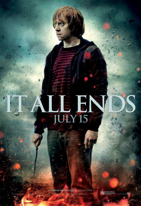 harry_potter_and_the_deathly_hallows_part_two ron weasley rupert grint ron rare individual fighting final battle character poster promo rare hot july 15th