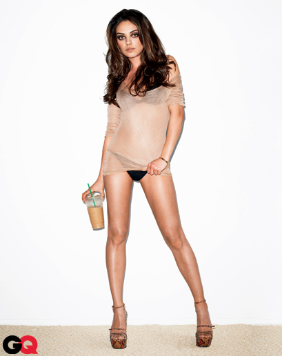 mila kunis in the august 2011 issue of GQ magazine in panties and looking sexy hot photo shoot rare promo friends with benefits panties hot sexy naked promo rare damn coffee latte