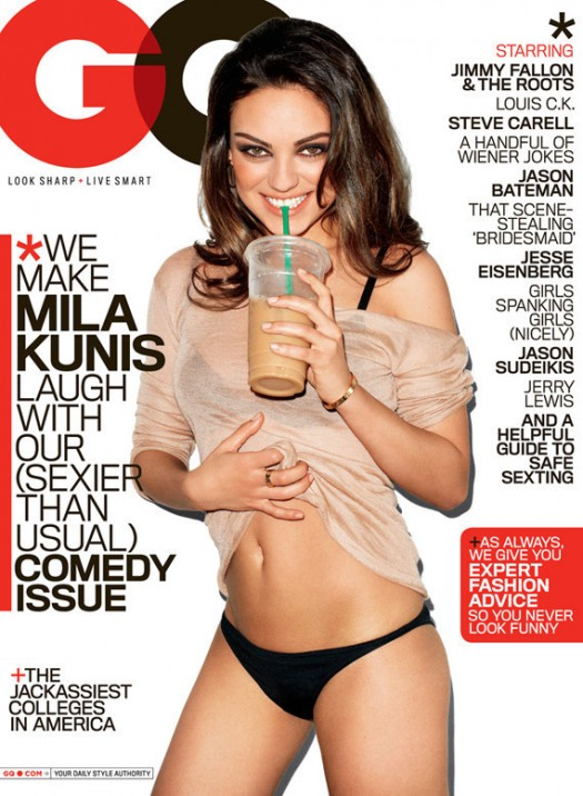 mila kunis on the cover of the august 2011 issue of GQ magazine in panties and looking sexy hot photo shoot rare promo friends with benefits sexy magazine cover panties rare coffee