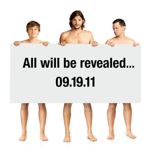 new two and a half men naked promo poster ashton kutcher rare hot sexy muscle rare promo jon cryer two and a half men 2 1/2 men promo poster 2011