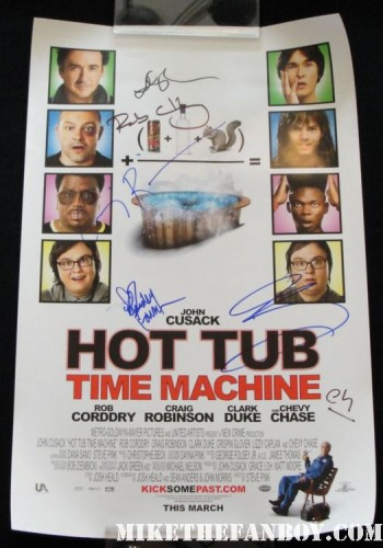 Rob Corddry david wain lake bell children's hospital cast autograph signing at the warner bros booth autograph rare promo poster hot tub time machine mini poster