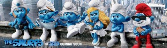 the smurfs rare international asian teaser movie poster rare pappa smurf smurfette rare clumsey rare smurfs banner artwork