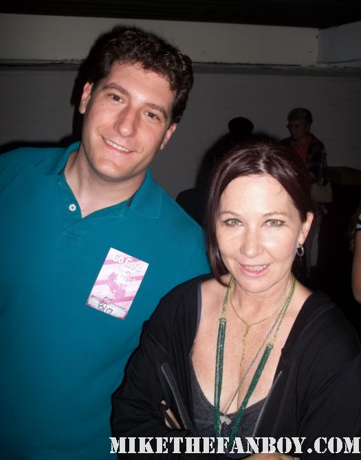 mike the fanboy with Go-go's kathy valentine at the greek theatre backstage