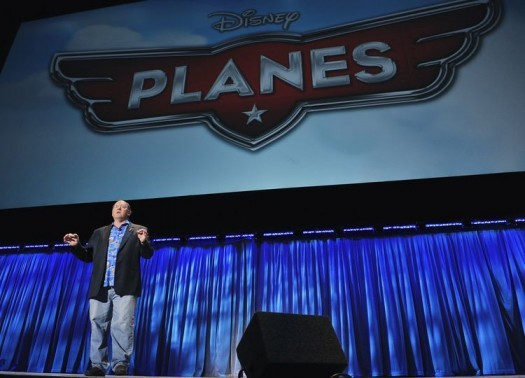 JOHN LASSETER (CHIEF CREATIVE OFFICER, WALT DISNEY AND PIXAR ANIMATION STUDIOS) introducing planes at the walt disney film panel at d23 2011 rare promo poster
