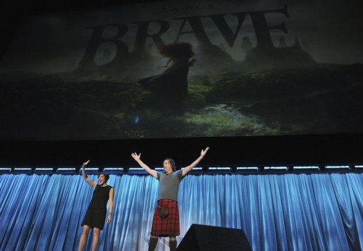 KATHERINE SARAFIAN, MARK ANDREWS introducing brave at D23 2011 the walt disney studios convention gosford park scottish heroine rare pixar film new clip