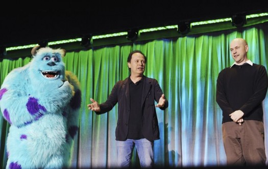 SULLEY, BILLY CRYSTAL, DAN SCANLON introducing monsters university at the d23 expo 2011 rare monsters inc d23 2011 movie panel rare promo