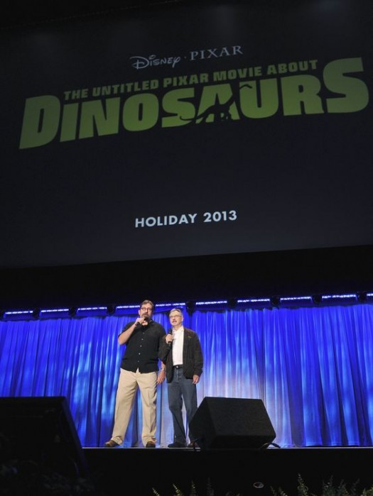 BOB PETERSON, JOHN WALKER introducing the new pixar film dinosaurs at the d23 expo 2011 rare promo 2013 poster promo