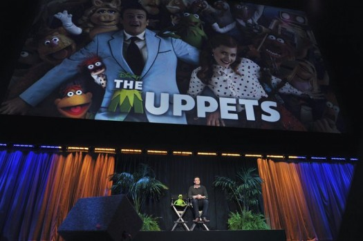 KERMIT THE FROG, JASON SEGEL introducing the muppets at the d23 fan expo at the anaheim convention center movie panel