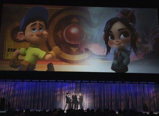 SARAH SILVERMAN, JACK MCBRAYER, RICH MOORE at the disney D23 expo 2011 introducing Wreck-It Ralph the new pixar movie