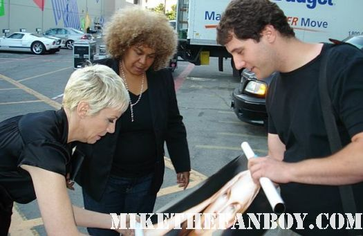 Annie Lennox signing Mike The Fanboys original Bare solo tour promo poster autograph eurythmics rare promo songs of mass destruction