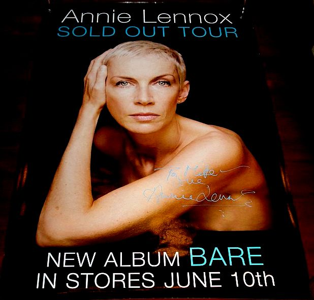 Annie Lennox hand signed autographed bare sold out tour poster rare eurythmics naked promo poster signed autograph light blue paint pen