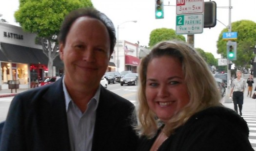 Billy Crystal poses for a fan photo with mike the fanboy columnist pinky lovejoy rare promo hot city slickers when harry met sally signed autograph