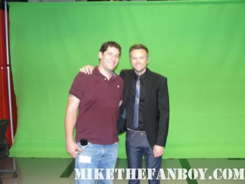 mike the fanboy and joel mchale on the set of the soup at E! Entertainment studios rare community
