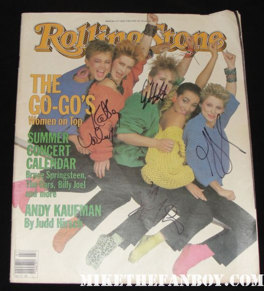 the go-go's 1984 rolling stone magazine cover signed autograph jane wiedlin gina schock charlotte caffey kathy valentine