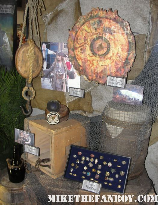 D23 2011 walt disney pirates of the caribbean on stranger tides props and costumes rare johnny depp jack sparrow penelope cruz sword costume compass Penelope Cruz's  costume and gun from Pirates Caribbean anjelica the fountain of youth treasure map