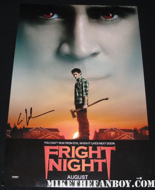 anton yelchin from star trek terminator salvation fright night charlie brewster signs autographs for waiting fans  fright night star anton yelchin and mike the fanboy pose for a photo fan friendly rare star trek checkov fright night rare promo mini poster autographed signed by anton yelchin